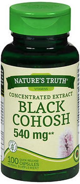 Nature's Truth Concentrated Extract Black Cohosh 540 mg Herbal Supplement - 100 Quick Release Capsules