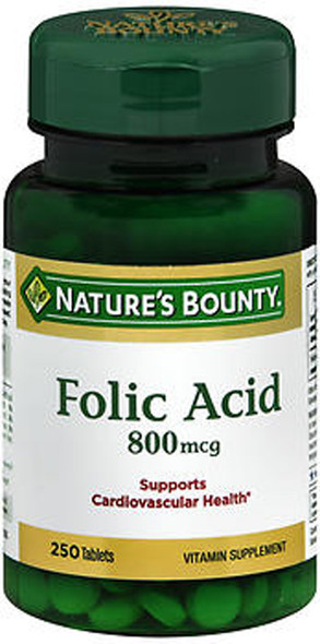 Nature's Bounty Folic Acid 800 mcg Vitamin Supplement Maximum Strength - 250 Tablets
