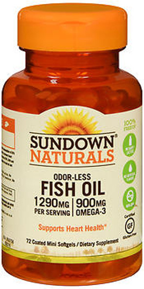 Sundown Naturals Odorless Premium Omega-3 Fish Oil 1290 mg  - 72 Softgels