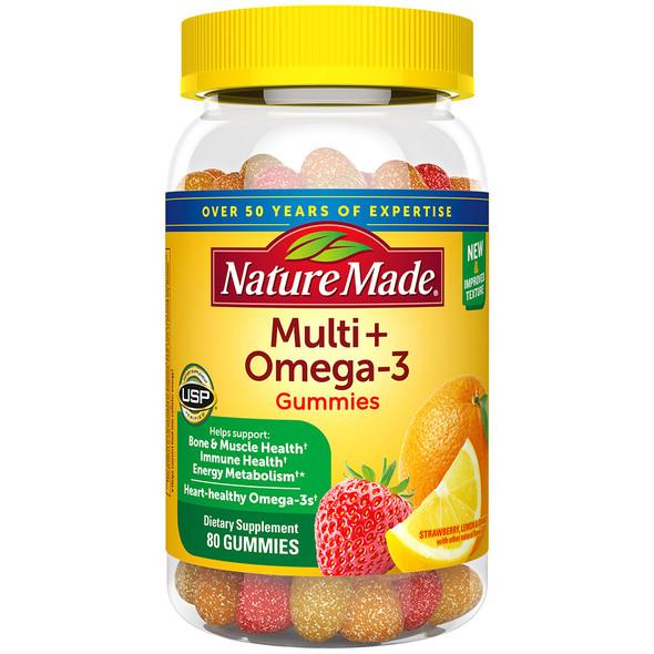 Nature Made Adult Gummies Multi + Omega-3 Dietary Supplement Strawberry, Lemon & Orange Flavors - 80 ct