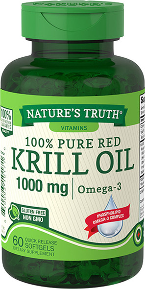 Nature's Truth 100% Pure Red Krill Oil 1000 mg Omega -3 Quick Release Softgels - 60 ct