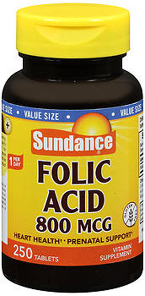 Sundance Vitamins Folic Acid 800 mcg - 250 Tablets