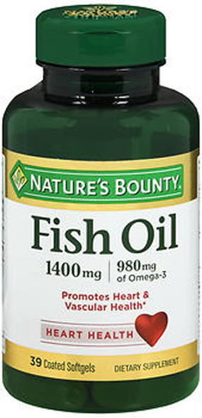 Nature's Bounty Odorless Fish Oil 1400 mg Triple Strength - 39 Coated Softgels