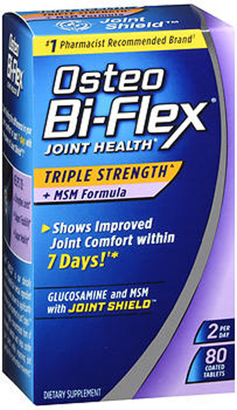 Osteo Bi-Flex Joint Health Triple Strength + MSM Formula Joint Shield + Glucosamine Coated Tablets - 80 ct
