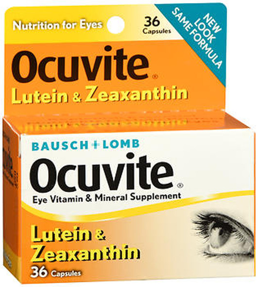 Ocuvite Lutein and Zeaxanthin Eye Vitamin and Mineral Supplement - 36 Capsules