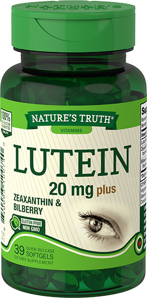 Nature's Truth Lutein 20 mg plus Zeaxanthin & Bilberry Quick Release Softgels - 39 ct