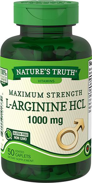 Nature's Truth Maximum Strength L-Arginine HCL 1000 mg Coated Caplets - 50 ct