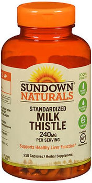Sundown Naturals Standardized Milk Thistle 240 mg Herbal Supplement - 250 Capsules