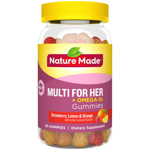 Nature Made Adult Gummies Multi for Her plus Omega-3s Strawberry, Lemon & Orange Flavors - 80 ct