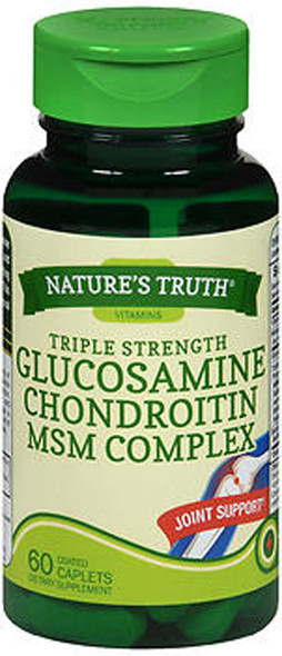 Nature's Truth Triple Strength Glucosamine Chondroitin MSM Complex Dietary Supplement - 60 Coated Caplets