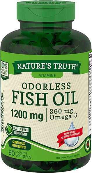 Nature's Truth Odorless Lemon Flavor Fish Oil 1200 mg 360 mg Omega-3 Softgels - 90 ct