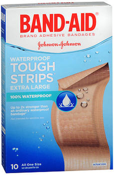 Band-Aid Tough-Strips Waterproof Bandages Extra Large All One Size - 10 ct