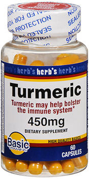 Basic Vitamins Turmeric 450 mg Capsules - 60 ct