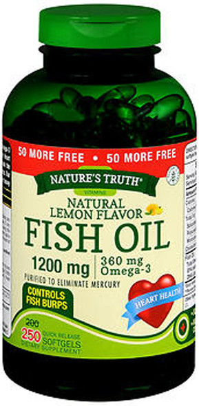 Nature's Truth Natural Lemon Flavor Fish Oil 1200 mg Quick Release Softgels - 250 Softgels