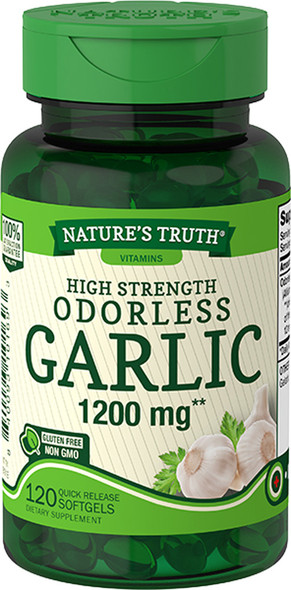 Nature's Truth High Strength Odorless Garlic 1200 mg Quick Release Softgels - 120