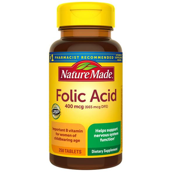 Nature Made Folic Acid 400 mcg Tablets - 250 ct