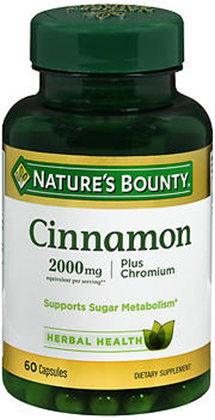 Nature's Bounty Cinnamon 2000 mg Plus Chromium Capsules - 60 ct