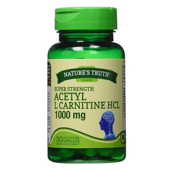 Nature's Truth Acetyl L Carnitine HCL 1000 mg - 30 Quick Release Capsules
