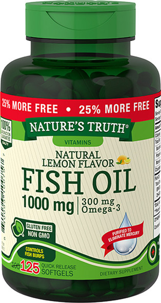 Nature's Truth Natural Lemon Flavor Fish Oil 1000 mg Quick Release Softgels - 125 ct
