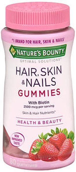 Nature's Bounty Optimal Solutions Hair, Skin & Nails With Biotin Strawberry Flavored - 80 Gummies