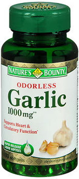 Nature's Bounty Odorless Garlic 1000 mg - 100 Softgels