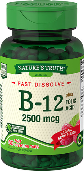 Nature's Truth Vitamin B-12 2500 mcg plus Folic Acid Fast Dissolve Tabs Natural Berry Flavor - 60 ct
