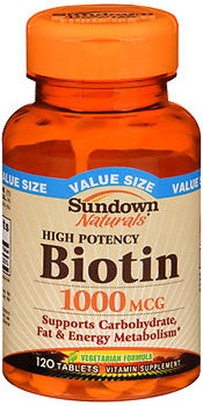 Sundown Naturals Biotin 1000 mcg Vitamin Supplement Tablets - 120 ct