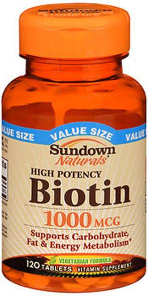 Sundown Naturals Biotin 1000 mcg Vitamin Supplement Tablets - 120 ct