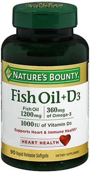 Nature's Bounty Fish Oil 1200 mg + D3 1000 IU Softgels - 90 ct