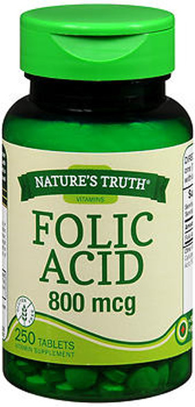 Nature's Truth Folic Acid 800 mcg Tablets - 250 Tablets
