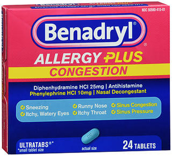 Benadryl Allergy Plus Congestion Tablets - 24 ct