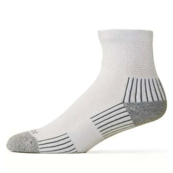 Ecosox Diabetic Bamboo Quarter Socks White/Gray LG - 2 Pair