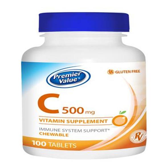 Premier Value C Chewable Vitamin Supplement, Orange - 500mg, Tablet 100ct