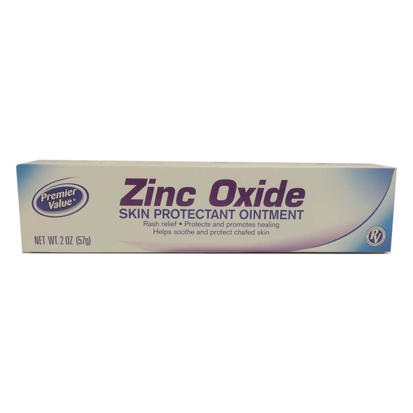 Image of box that contains 2 oz. bottle of Premier Value zinc oxide pain ointment.
