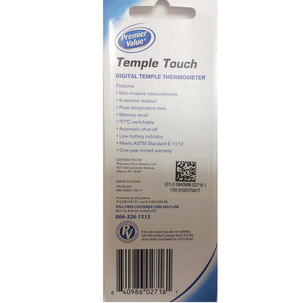 Premier Value Temple Touch Thermometer - 1ct