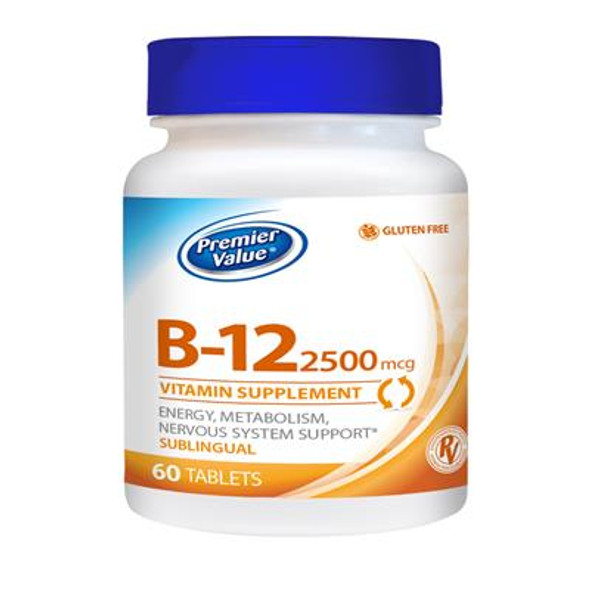 Premier Value B-12 Vitamin Supplement, Sublingual - 2500mcg, Tablets 60 ct