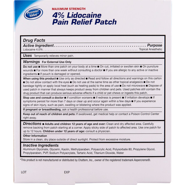 Premier Value Pain Relief Patch w/ 4% Lidocaine - 5ct