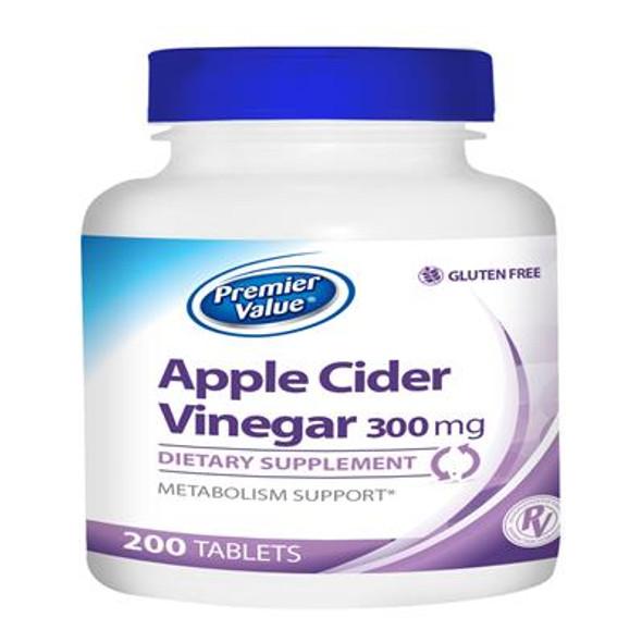 Premier Value Apple Cidar Vinegar Vitamin Supplement - 300mg, Tablet  200ct