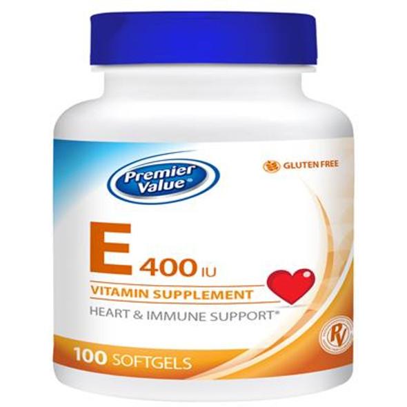 Premier Value E Vitamin Supplement - 400iu, Softgel 100 ct