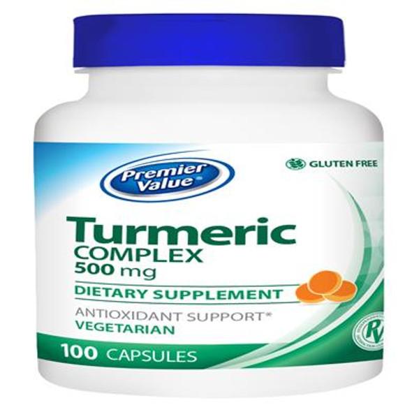 Premier Value Tumeric Complex Herbal Vitamin Supplement - Caplets 100ct