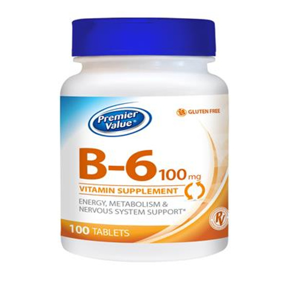 Premier Value B-6 Vitamin Supplement - 100mg, Tablet 100 ct