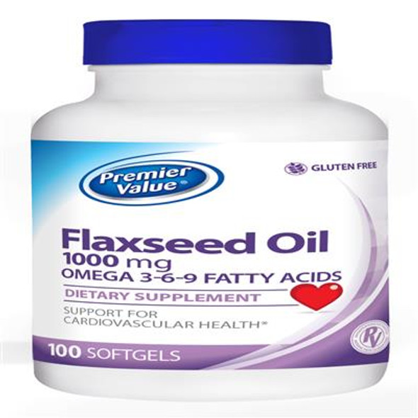 Premier Value Flaxseed Oil Vitamin Supplement - 1000mg, Softgels 100ct
