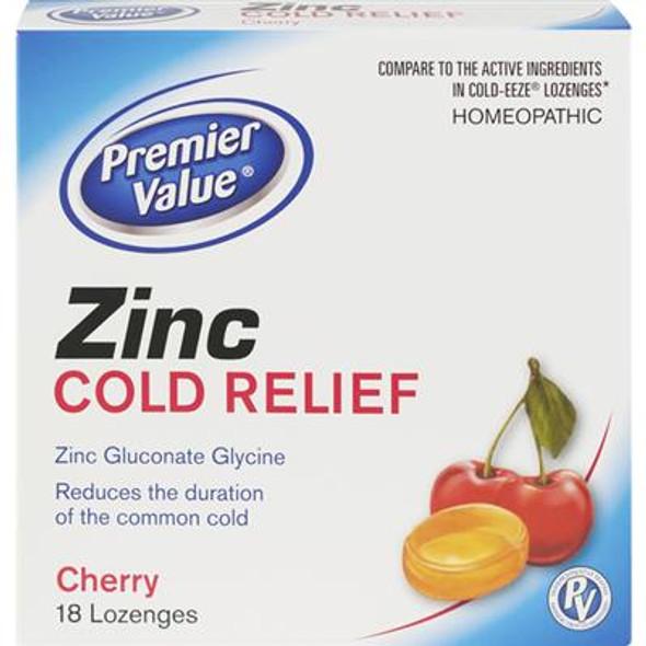 Premier Value Zinc Cold Relief Lozenges, Cherry - 18ct