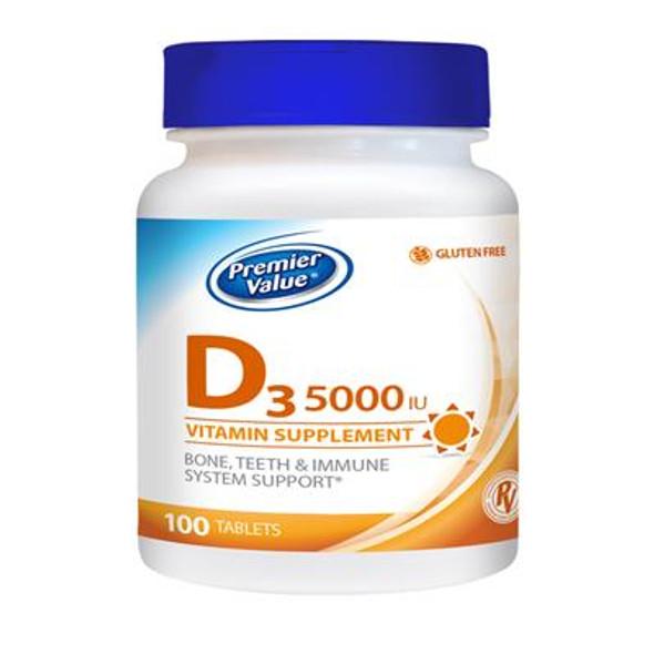 Premier Value D Vitamin Supplement - 5000iu, Tablets 100 ct