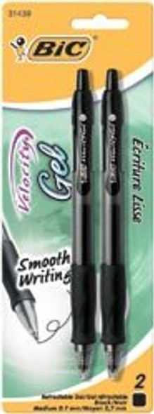 Velocity Retractable Gel Pen - Black, 2 pk