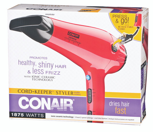 Conair Ionic Cord-Keeper Ceramic Hair Dryer - Red, 1875w