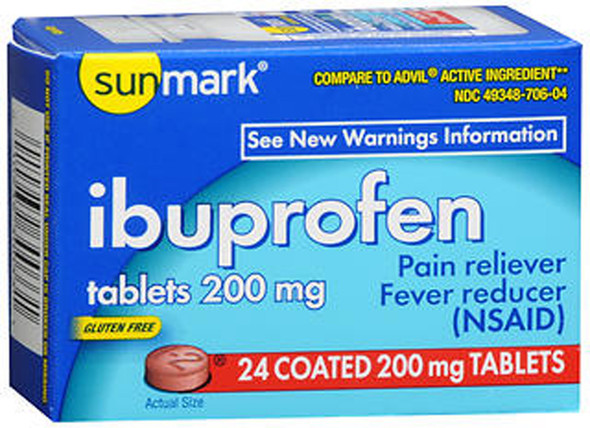 Sunmark Ibuprofen 200 mg Coated Tablets - 24 ct