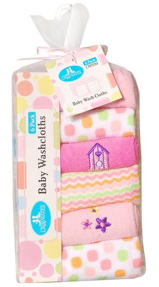 Baby Washcloths - Asst, 6 pk