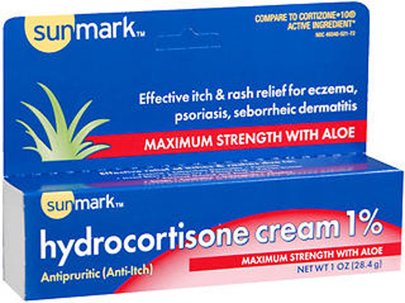 Sunmark Hydrocortisone Cream 1% Maximum Strength With Aloe - 1 oz