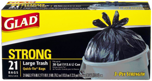Glad Quick-Tie Large Trash Bags - 21 ct